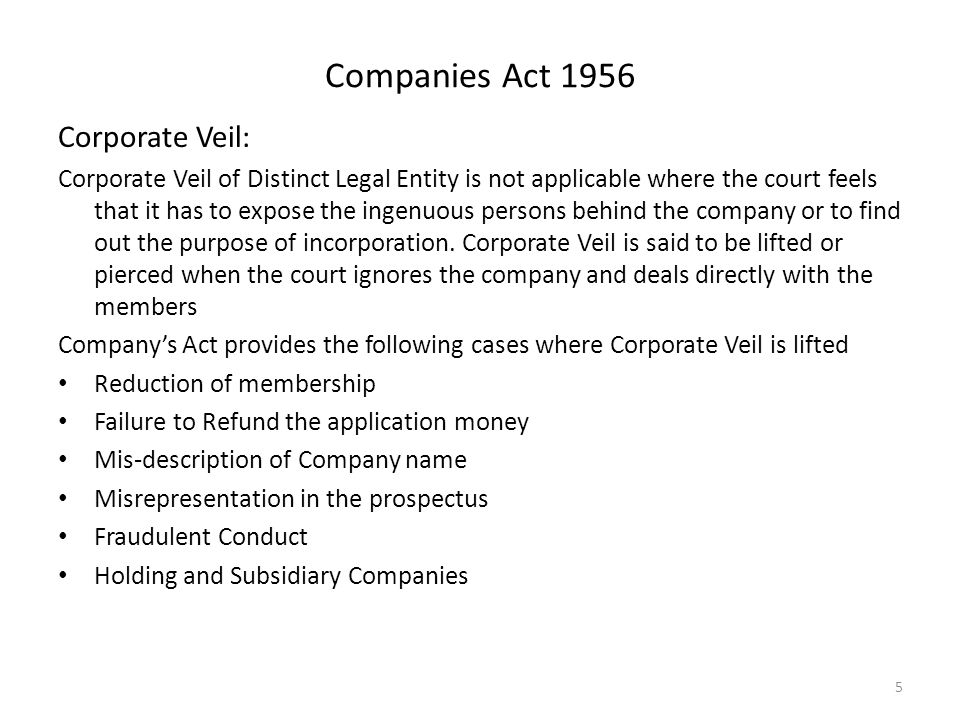 Business law module i companies act ppt download companies act 1956 corporate veil stopboris Gallery