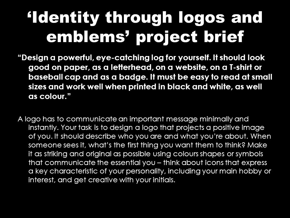 'Identity through logos and emblems' project brief