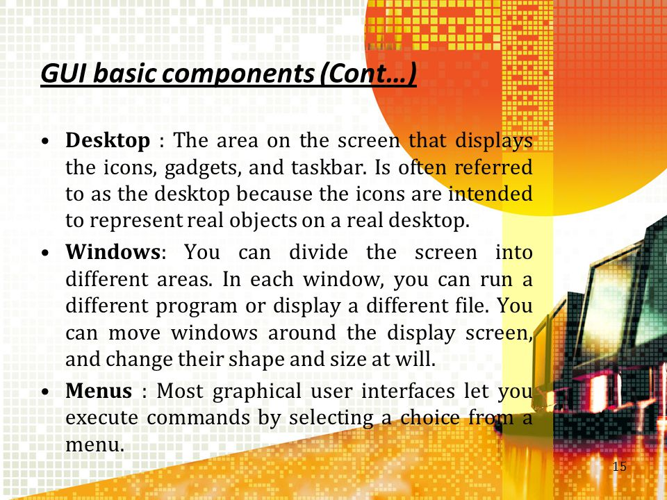 GUI basic components (Cont…)