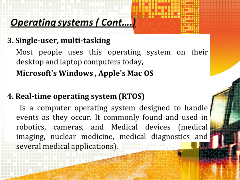 Operating systems ( Cont….)