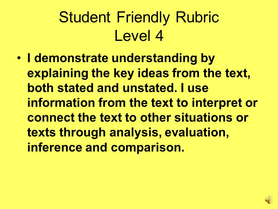Student Friendly Rubric Level 4