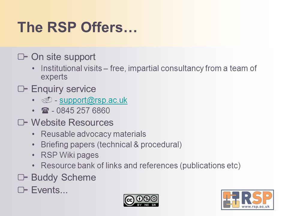 The RSP Offers… On site support Enquiry service Website Resources
