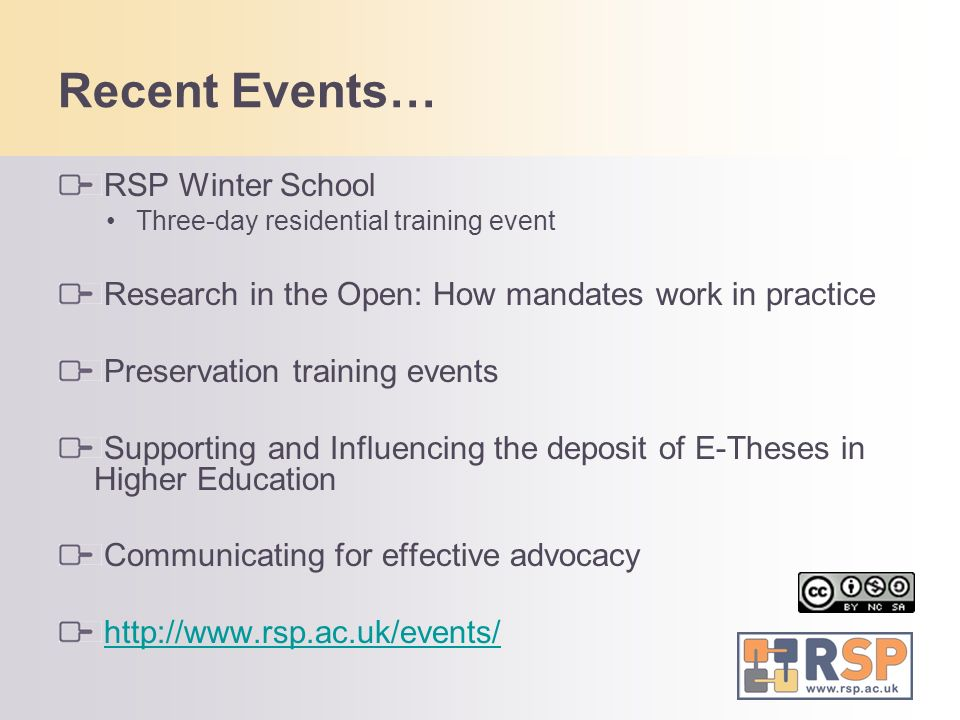 Recent Events… RSP Winter School