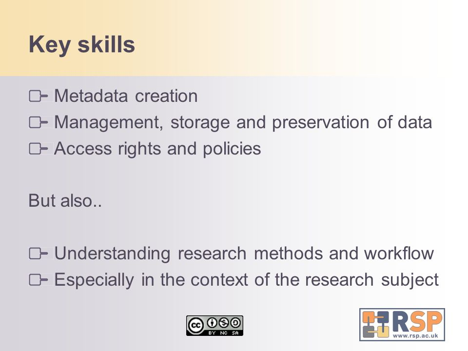 Key skills Metadata creation