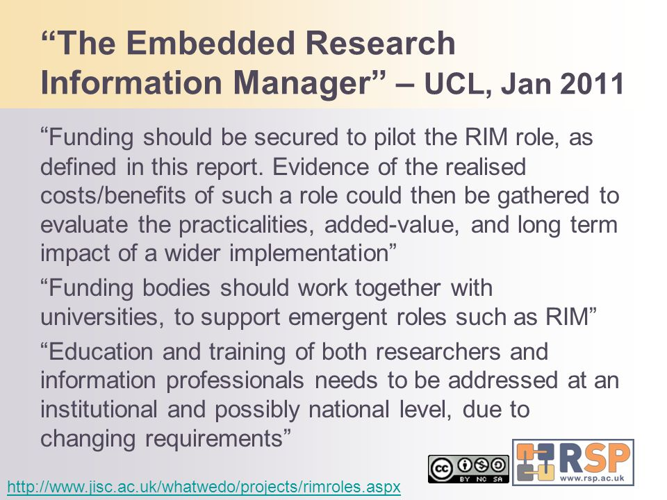 The Embedded Research Information Manager – UCL, Jan 2011