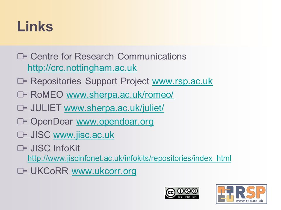 Links Centre for Research Communications http://crc.nottingham.ac.uk
