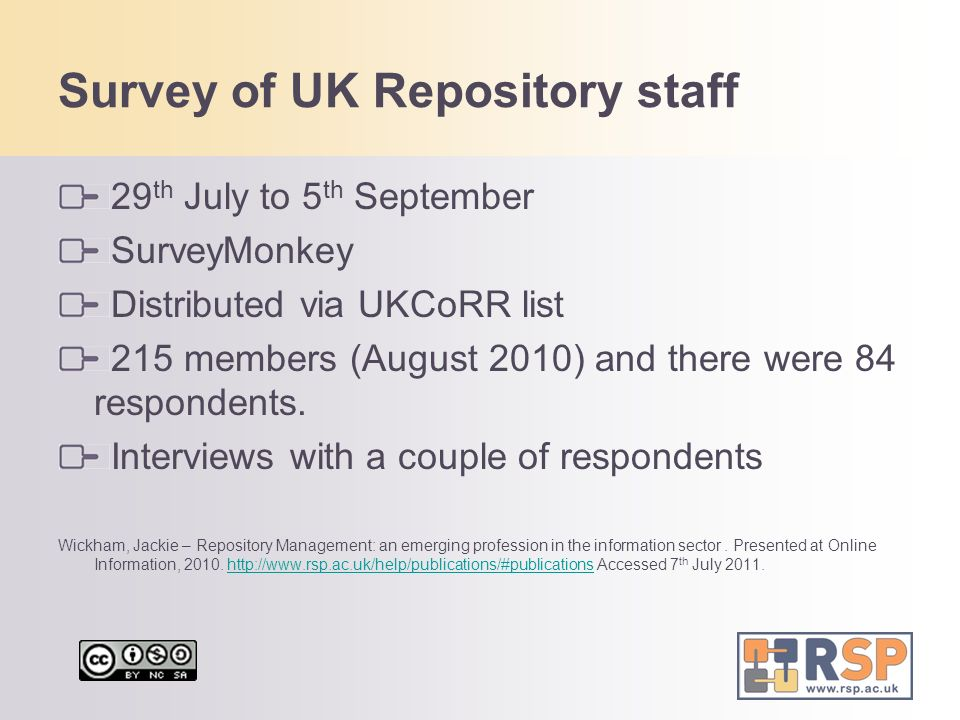 Survey of UK Repository staff
