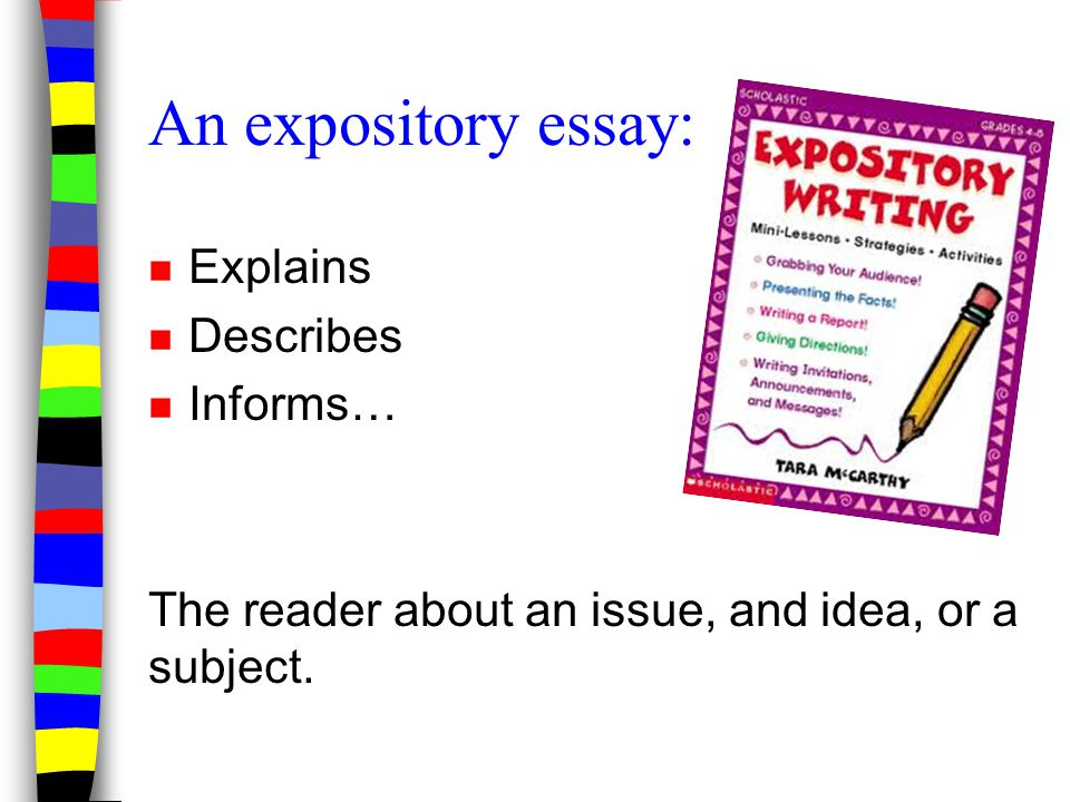 An expository essay: Explains Describes Informs…