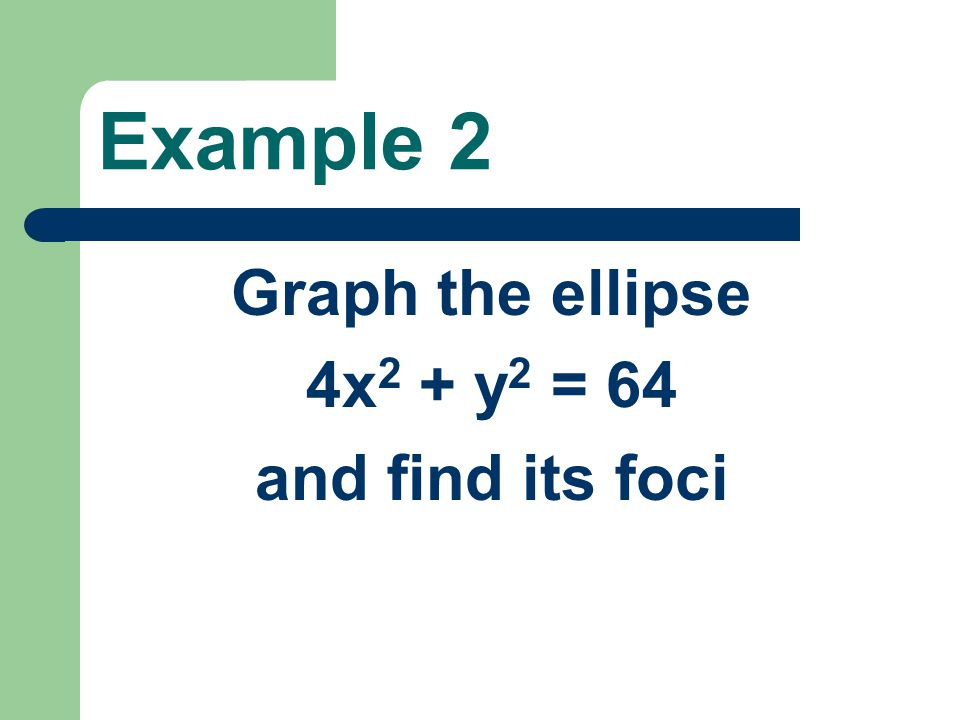 Example 2 Graph the ellipse 4x2 + y2 = 64 and find its foci