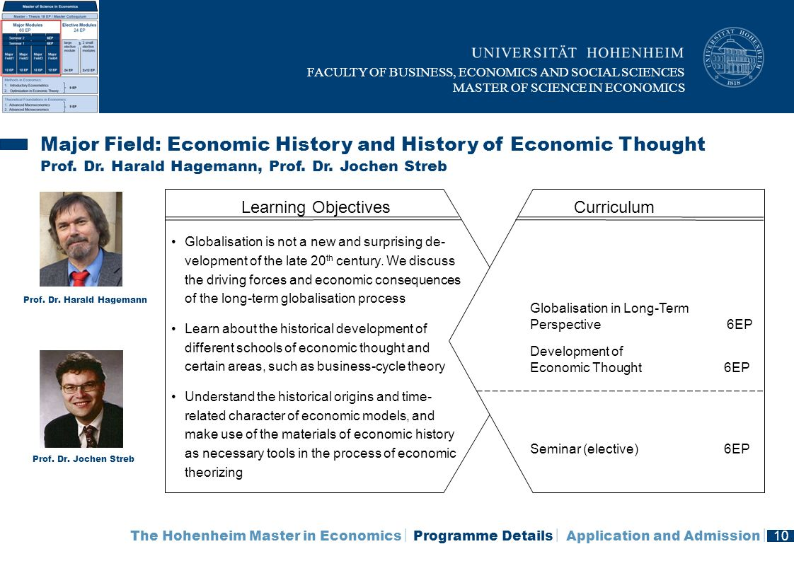 Major Field: Economic History and History of Economic Thought