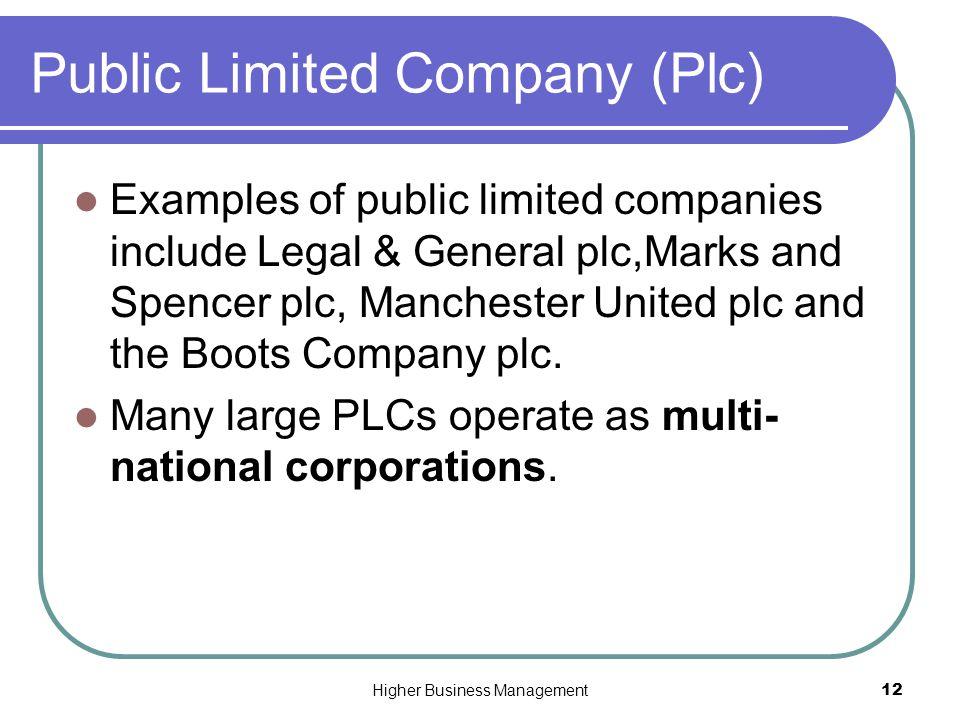 Public limited company.
