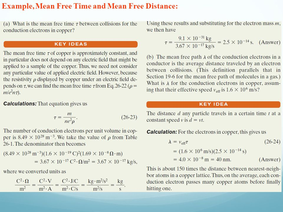 Example, Mean Free Time and Mean Free Distance: