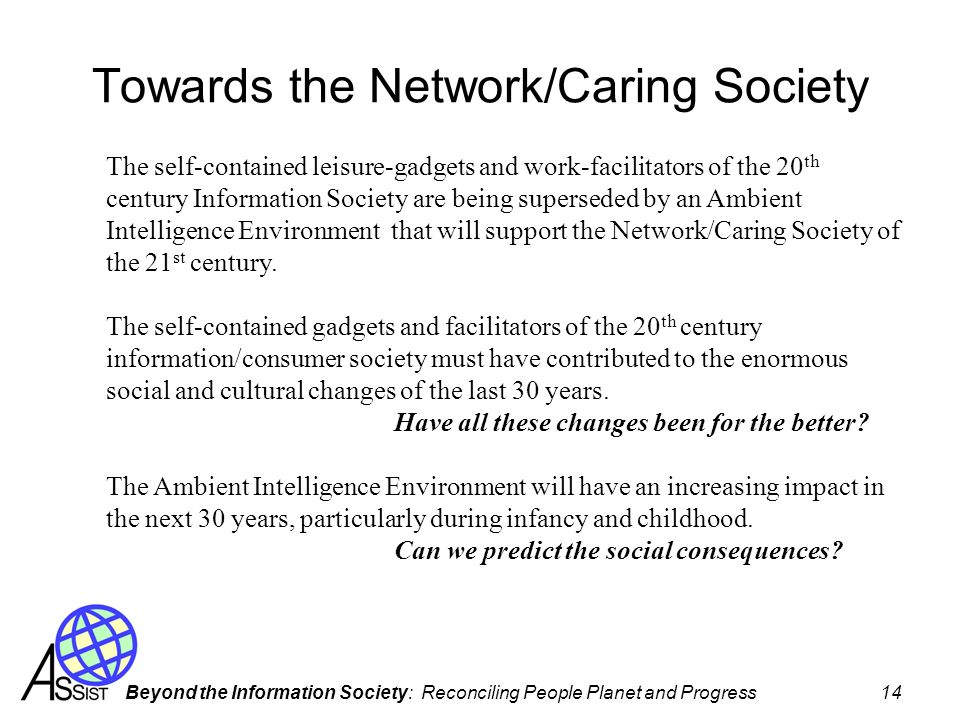 Towards the Network/Caring Society