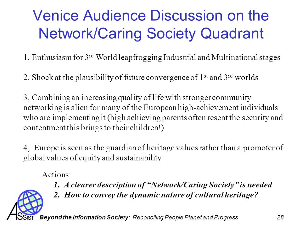 Venice Audience Discussion on the Network/Caring Society Quadrant