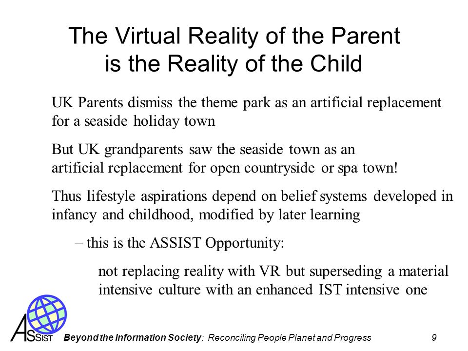 The Virtual Reality of the Parent is the Reality of the Child