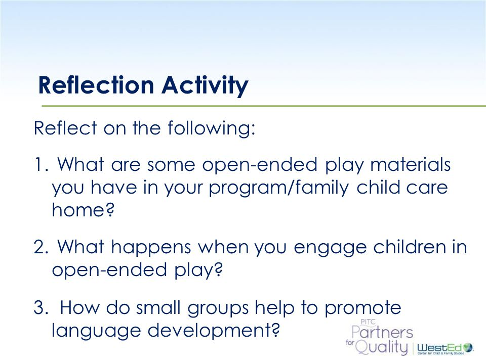 Reflection Activity Reflect on the following:
