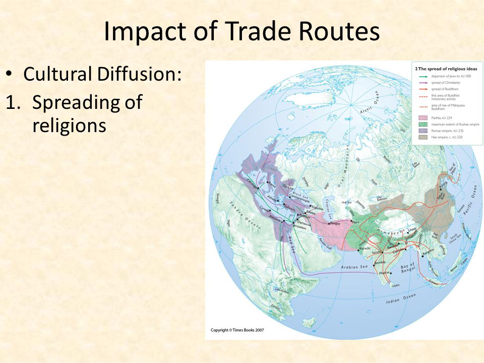 Impact of Trade Routes Cultural Diffusion: Spreading of religions