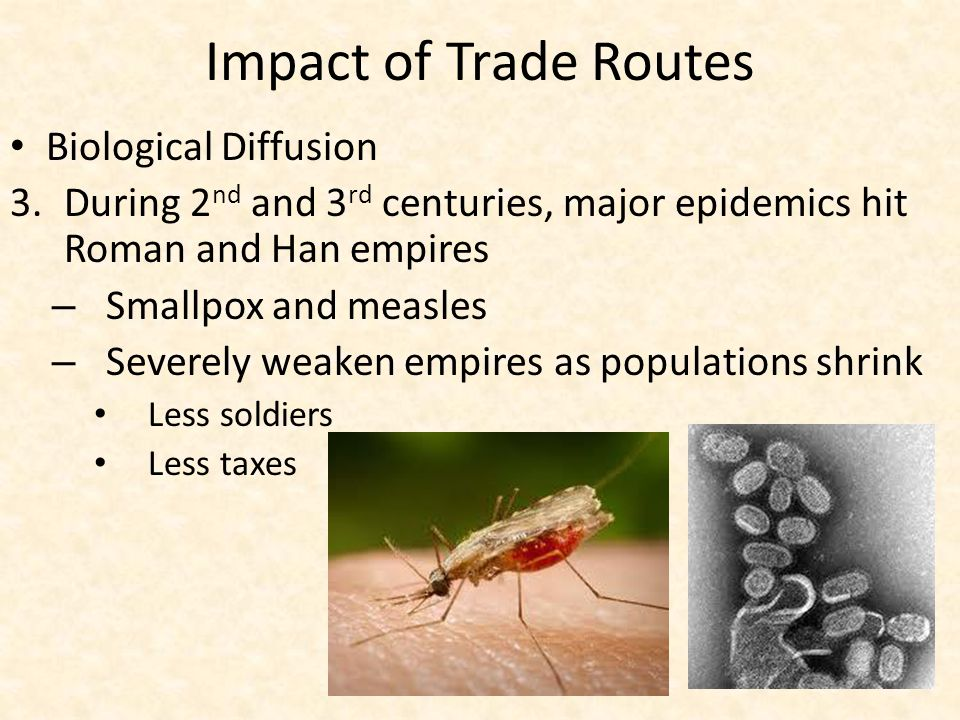 Impact of Trade Routes Biological Diffusion