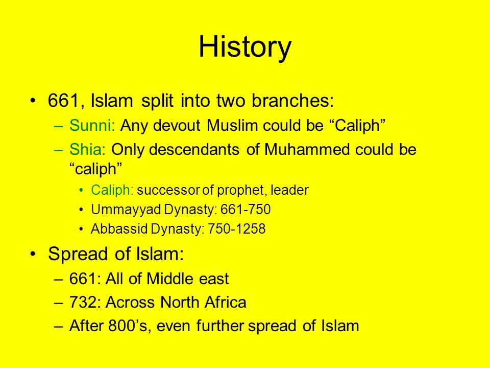 History 661, Islam split into two branches: Spread of Islam: