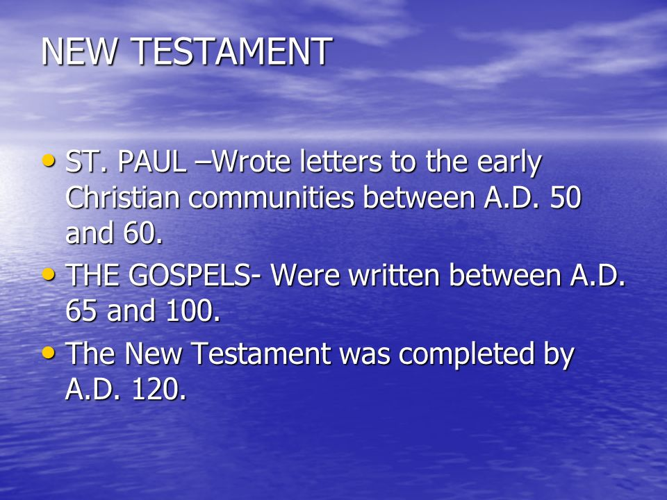 a letter to an early christian community is called blest are we the story of our church ppt 20333 | NEW TESTAMENT ST. PAUL %E2%80%93Wrote letters to the early Christian communities between A.D. 50 and 60. THE GOSPELS Were written between A.D. 65 and 100.