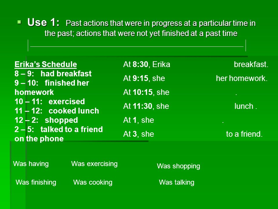 Use 1: Past actions that were in progress at a particular time in
