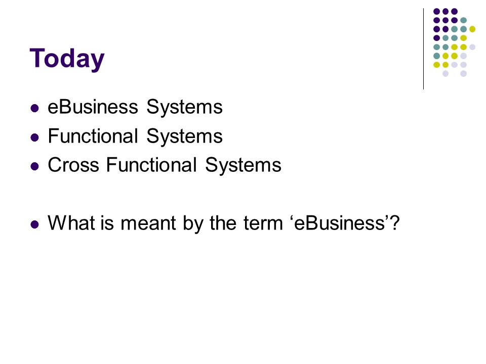 Today eBusiness Systems Functional Systems Cross Functional Systems
