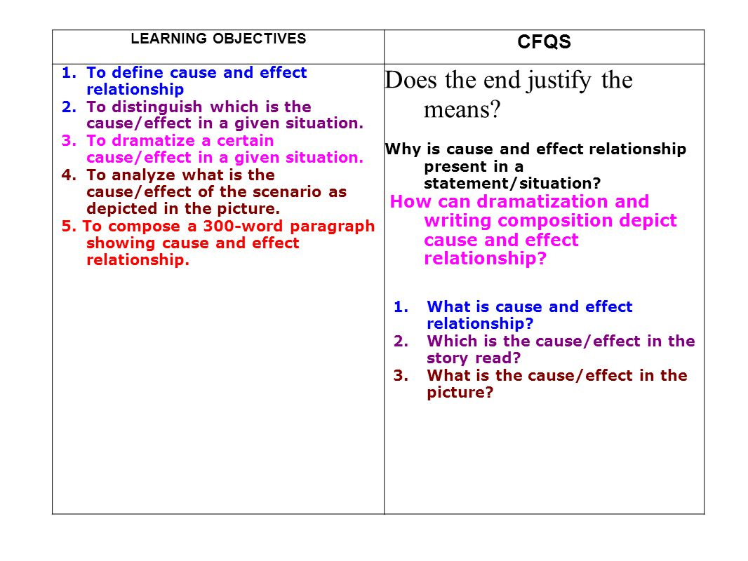 cause and effect learning