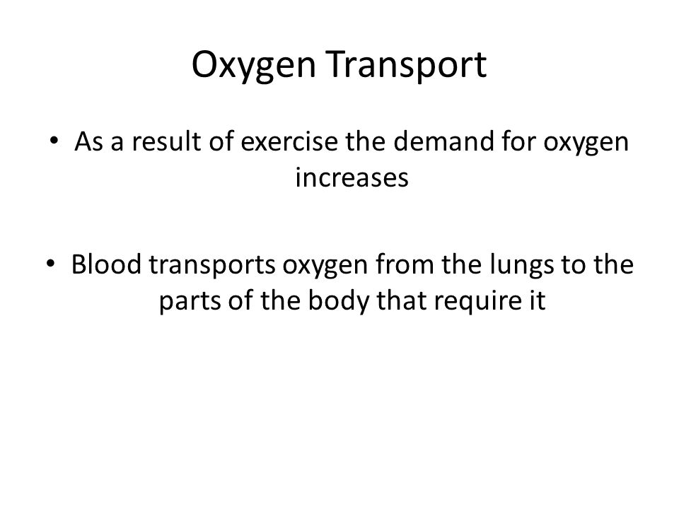 As a result of exercise the demand for oxygen increases