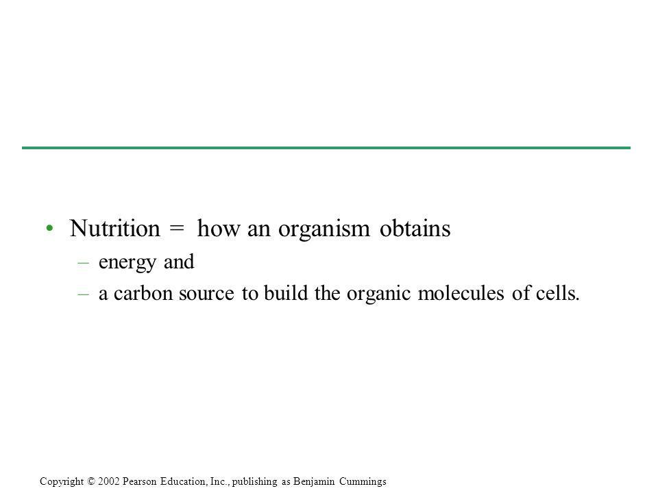 Nutrition = how an organism obtains
