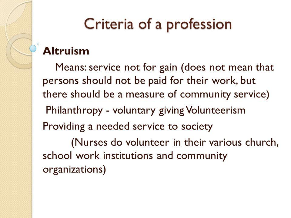 altruism definition nursing