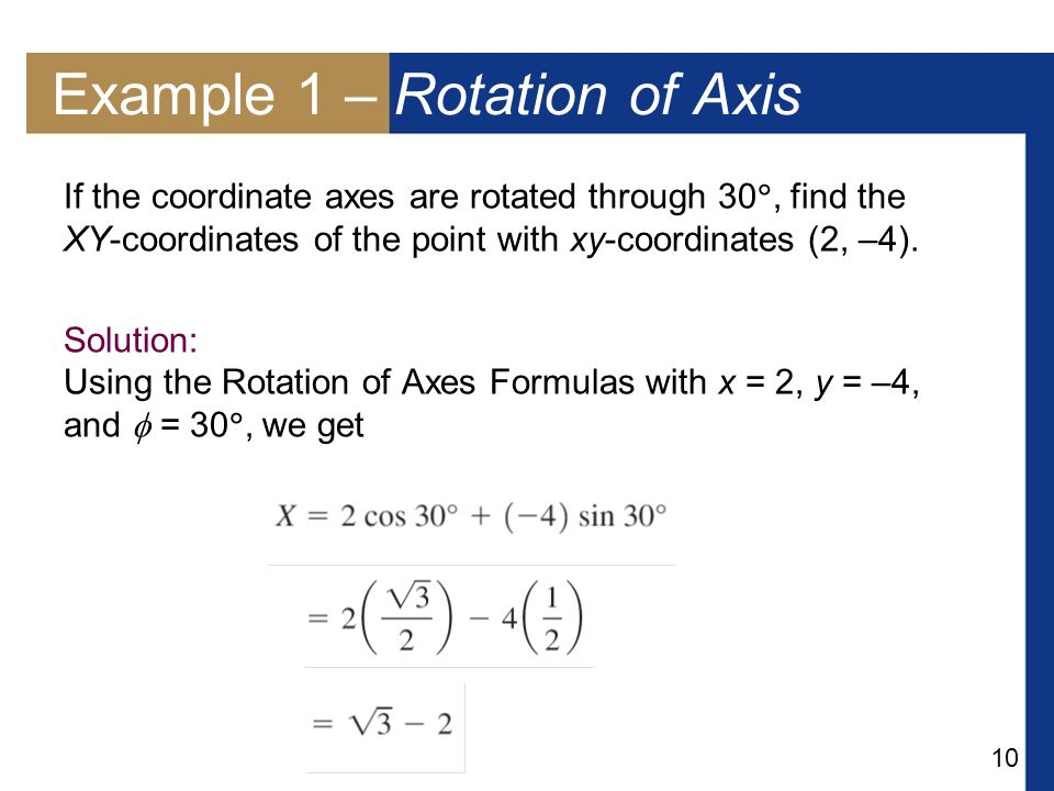 Example 1 – Rotation of Axis