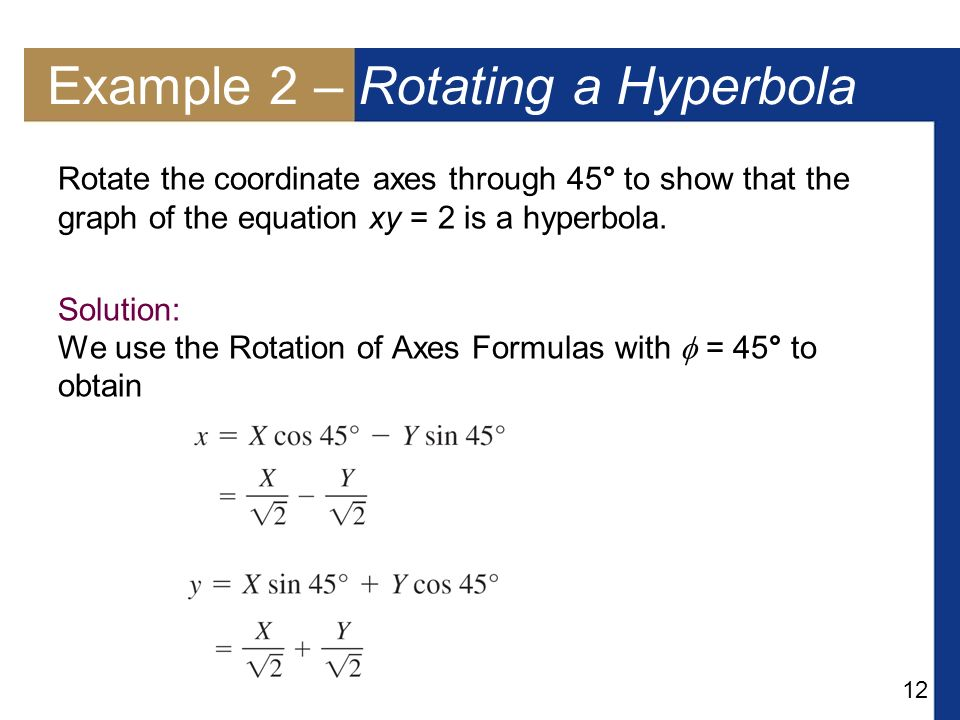 Example 2 – Rotating a Hyperbola