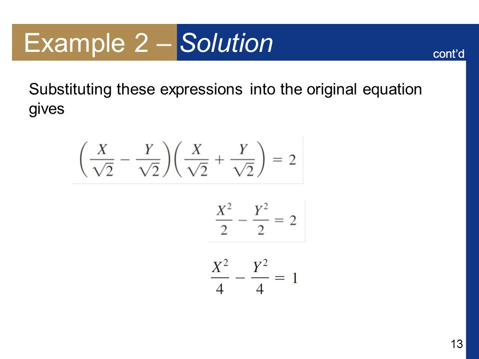 Example 2 – Solution cont'd Substituting these expressions into the original equation gives