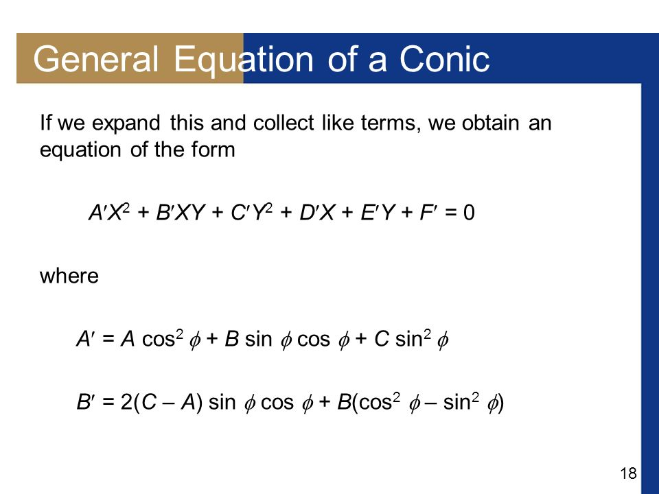 General Equation of a Conic