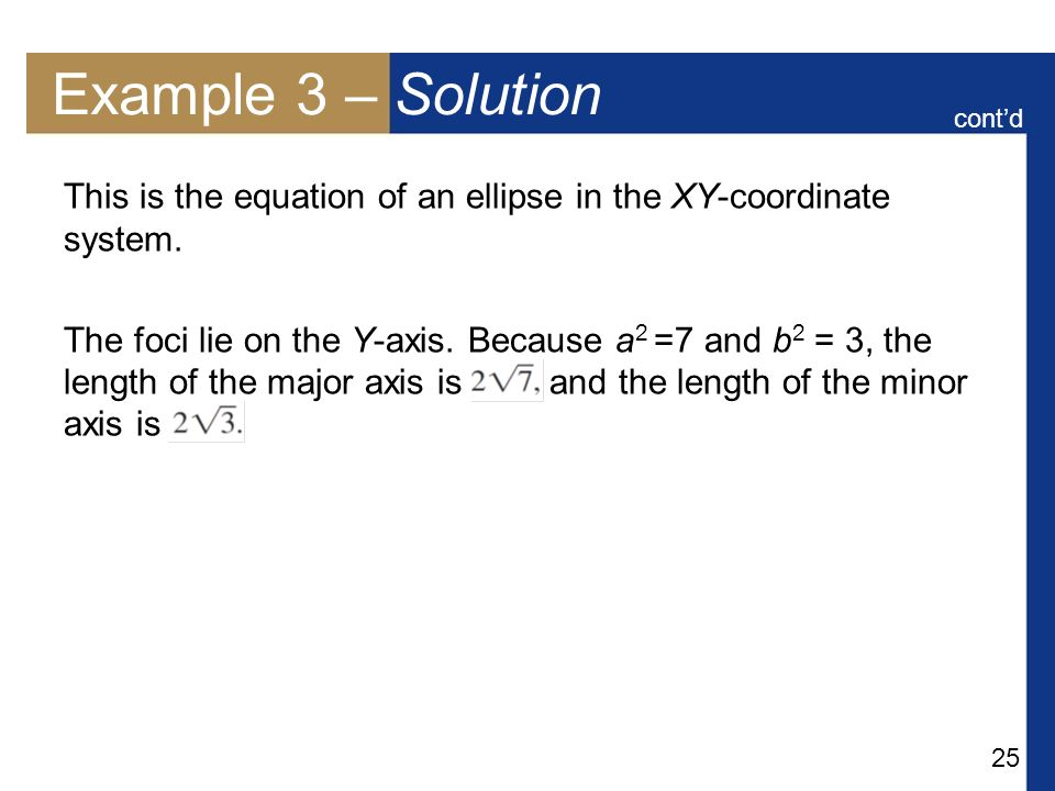 Example 3 – Solution cont'd. This is the equation of an ellipse in the XY-coordinate system.