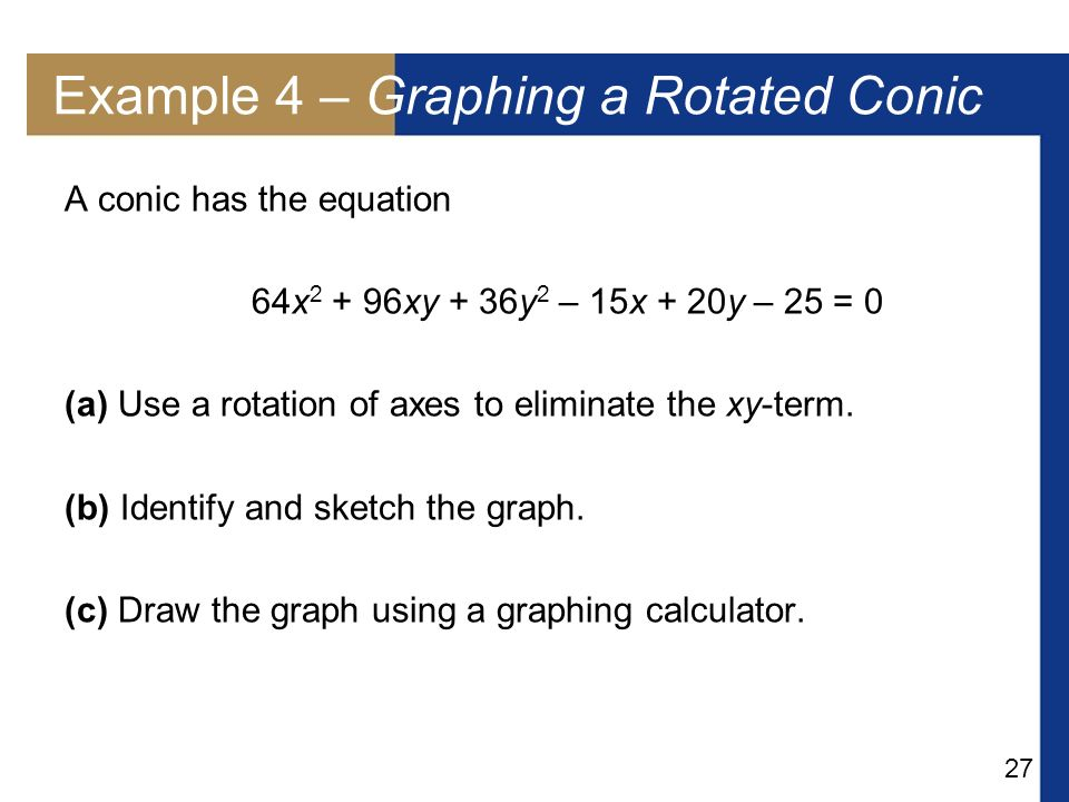 Example 4 – Graphing a Rotated Conic