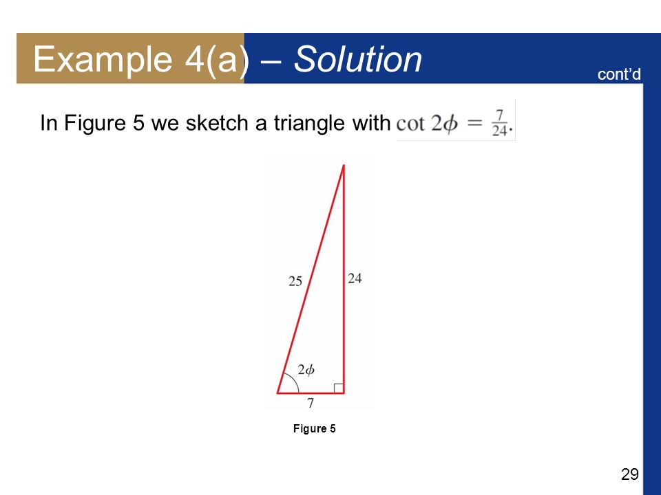 Example 4(a) – Solution In Figure 5 we sketch a triangle with cont'd