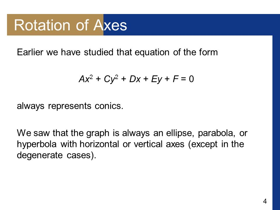 Rotation of Axes Earlier we have studied that equation of the form