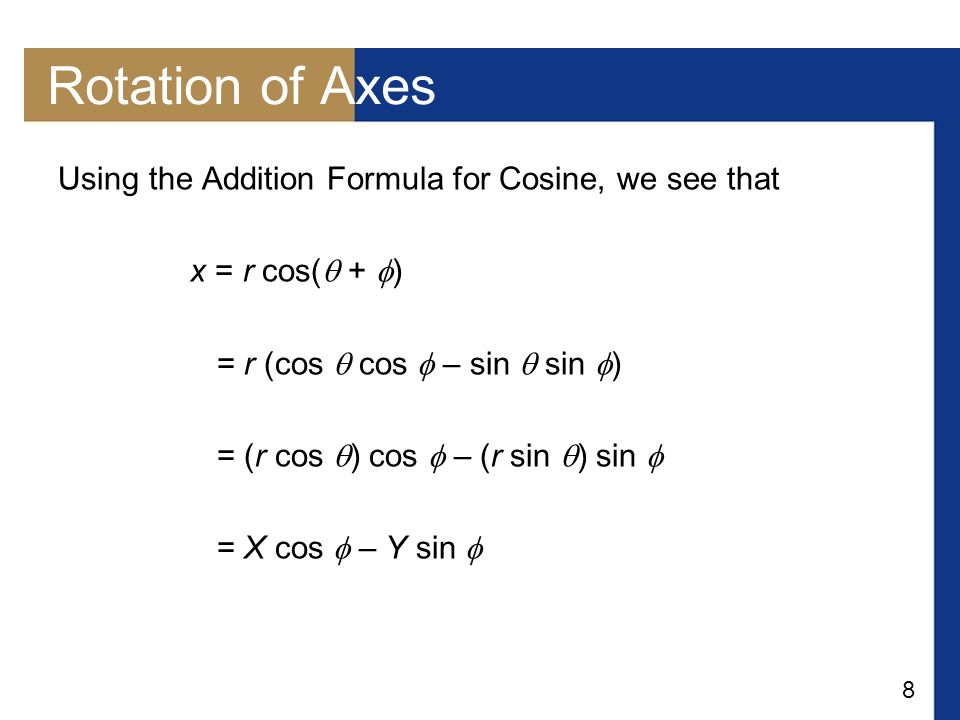 Rotation of Axes Using the Addition Formula for Cosine, we see that