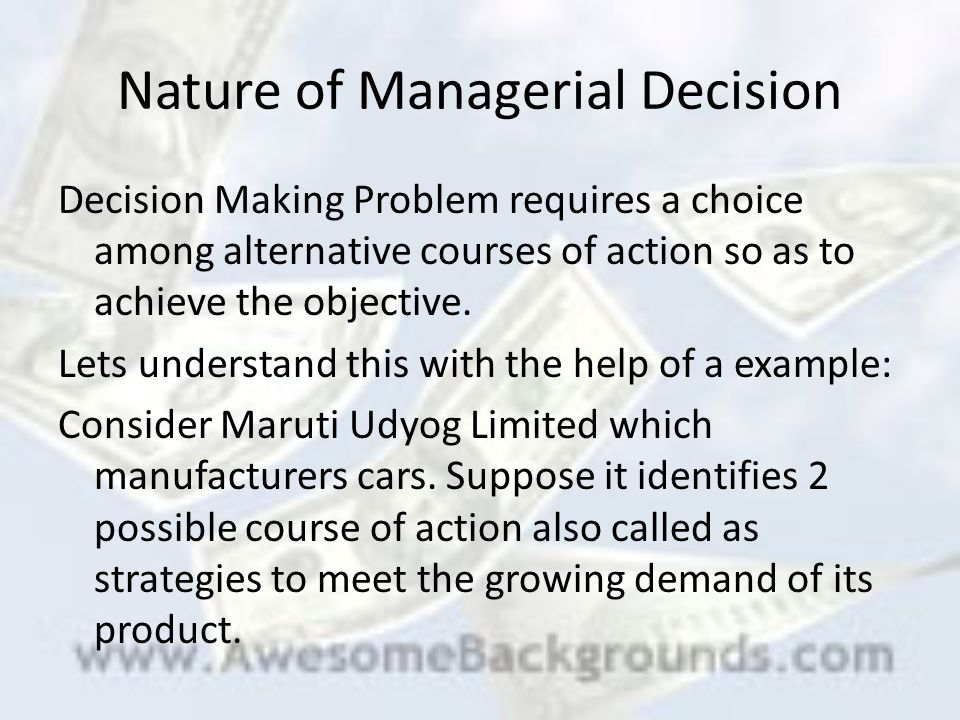 macroeconomics and managerial decision making essay Managerial economics refers to the use of economic concepts and the analysis of problems economically to come up with rational and operational managerial decisions at times, managerial economics is referred to business economics as it is a branch of economics that uses micro economic analysis to come up with business decisions.
