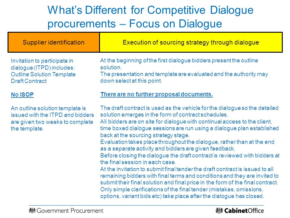 What's Different for Competitive Dialogue procurements – Focus on Dialogue