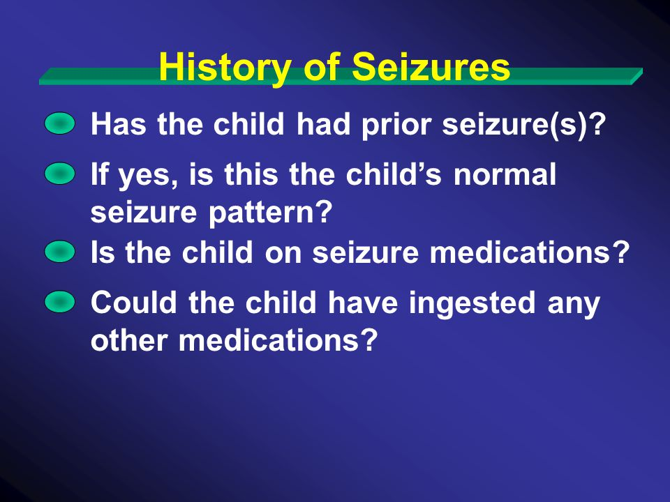 History of Seizures Has the child had prior seizure(s)