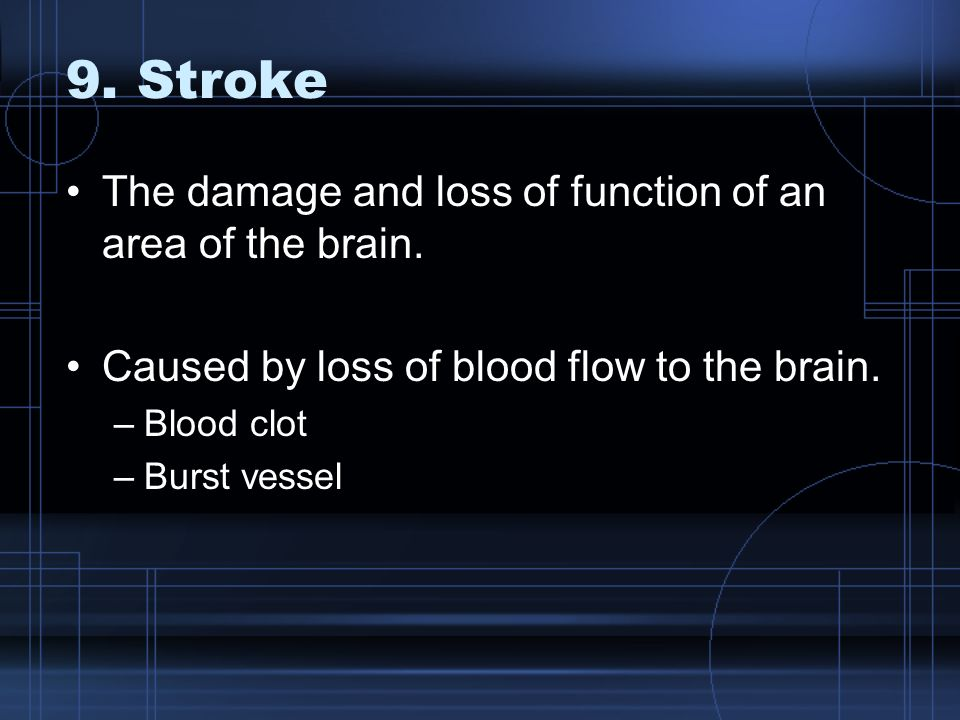 9. Stroke The damage and loss of function of an area of the brain.