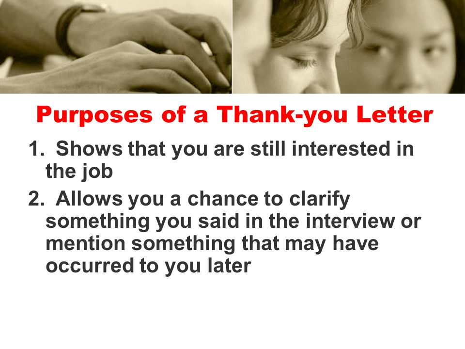Purposes of a Thank-you Letter