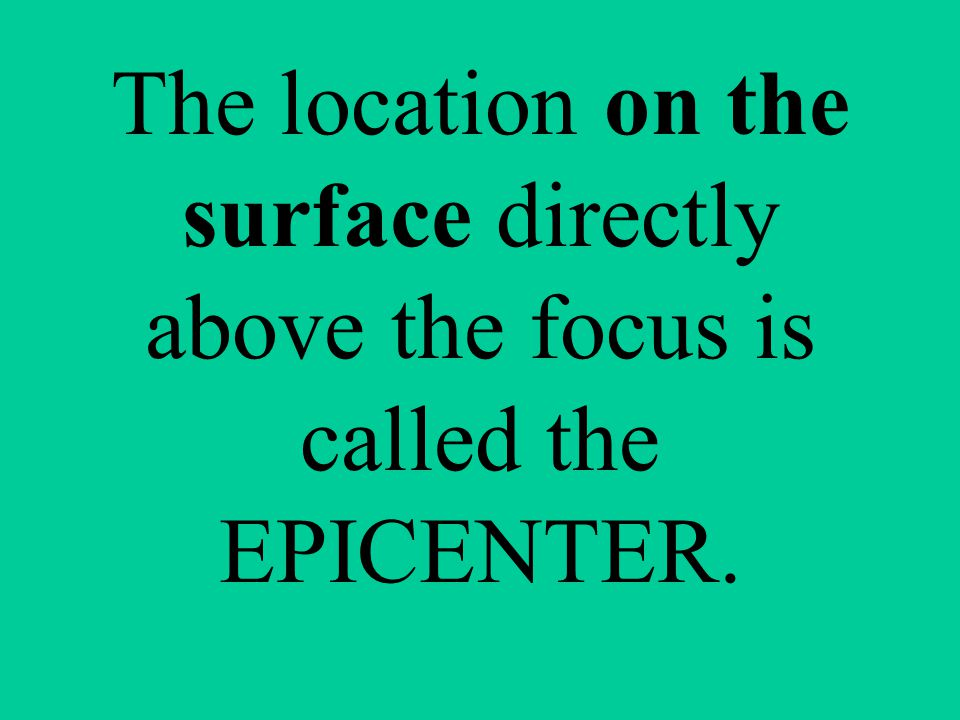 The location on the surface directly above the focus is called the EPICENTER.