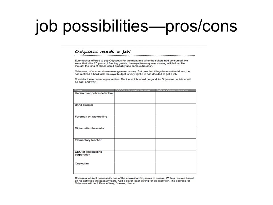 job possibilities—pros/cons