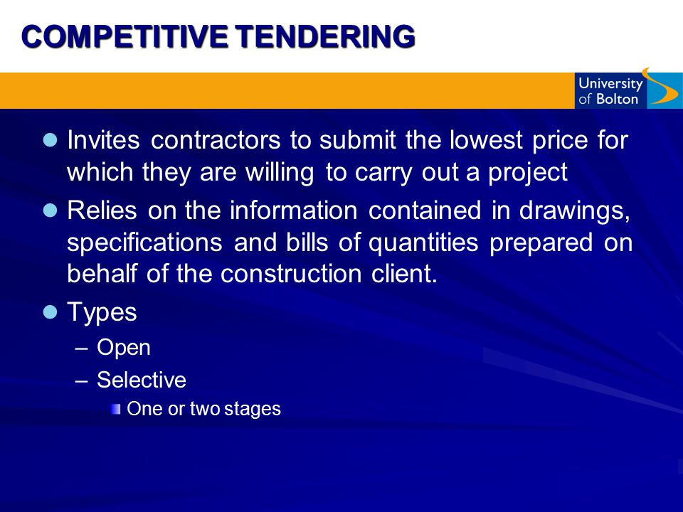 Traditional Methods of Procurement - Tendering