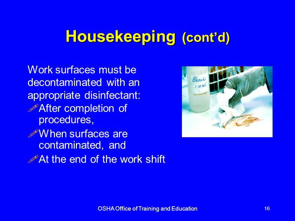 Housekeeping (cont'd)