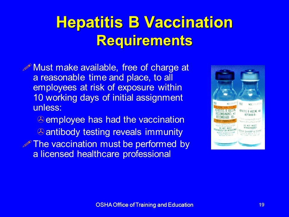 Hepatitis B Vaccination Requirements