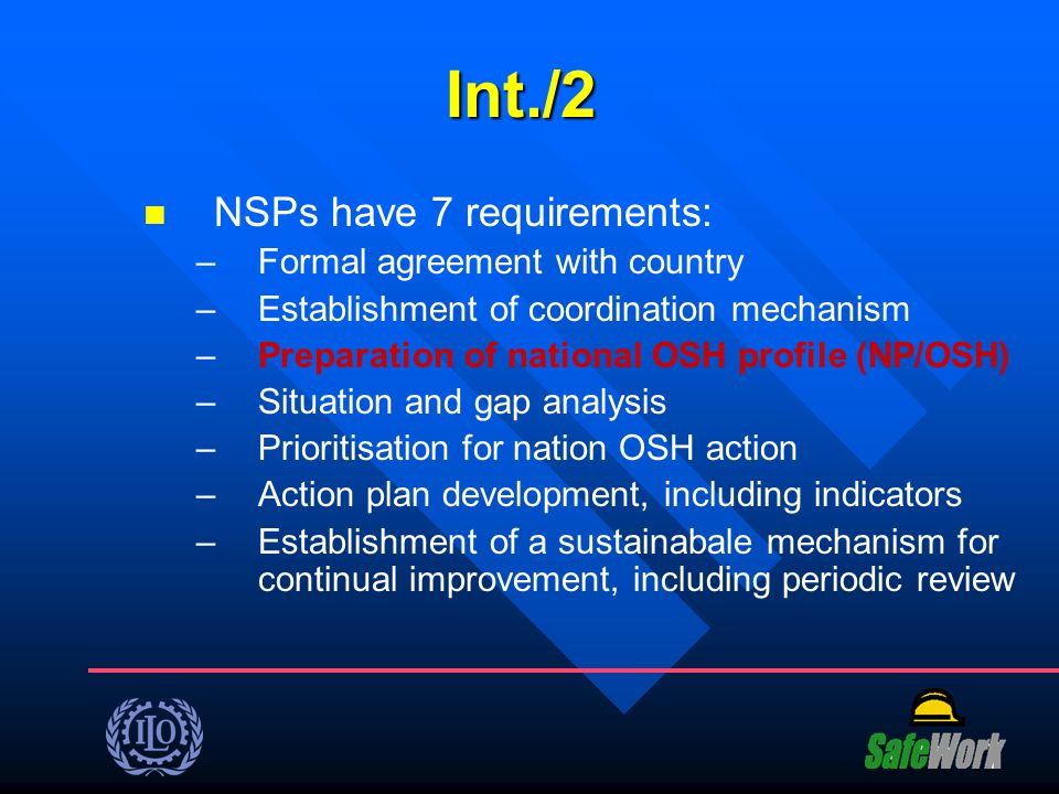Int./2 NSPs have 7 requirements: Formal agreement with country